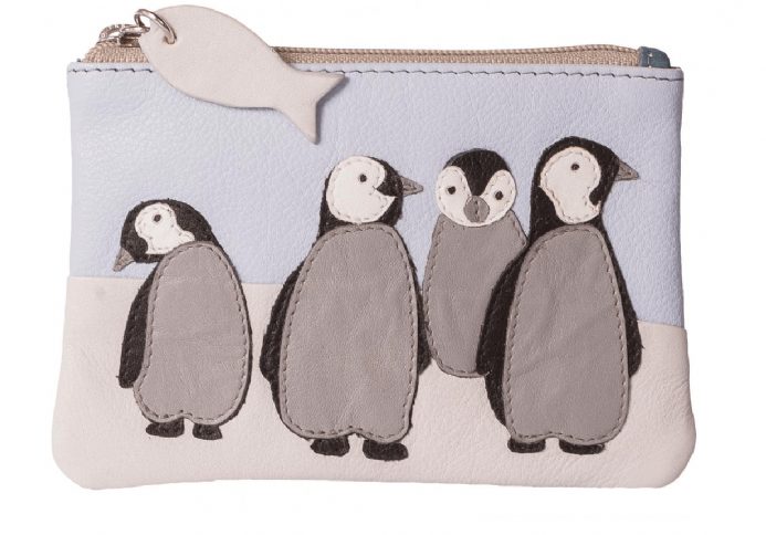 Leather Ollie Penguin Coin & Card Purse with RFID protection